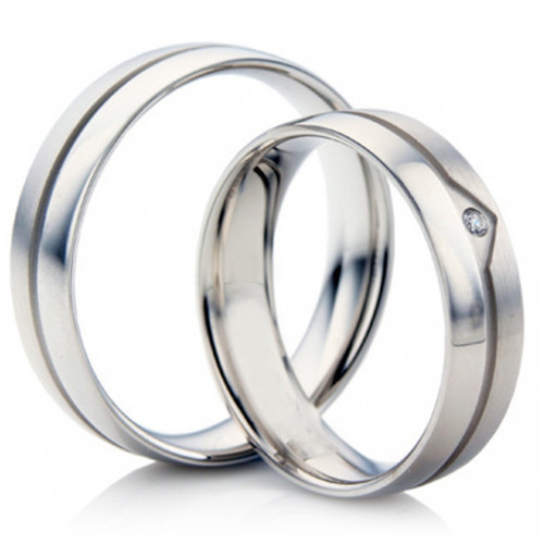 Satin Flat Grooved His And Her Wedding Bands 0.02 Carat Round Diamond 5mm, 6mm 02237