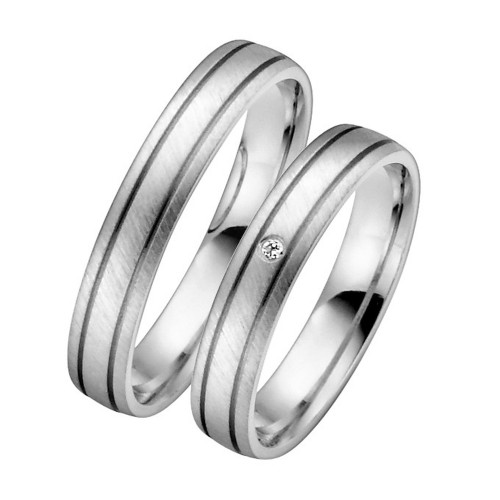 Satin Anglesatin Low Dome His And Her Wedding Bands 0.01 Carat Round Diamond 4mm 02244