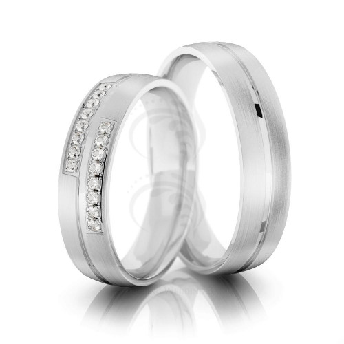 Satin Flat Grooved Ladies And Mens Wedding Rings 0.16 Ctw Round Diamond 5mm 02247
