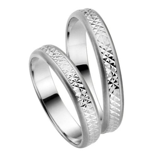 Satin Cnc His And Hers Matching Wedding Bands 4mm 02248
