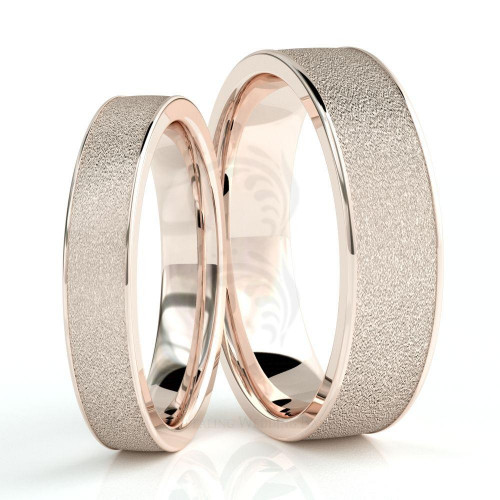 Polish Sandstone Couples Wedding Rings 4mm, 6mm 02252
