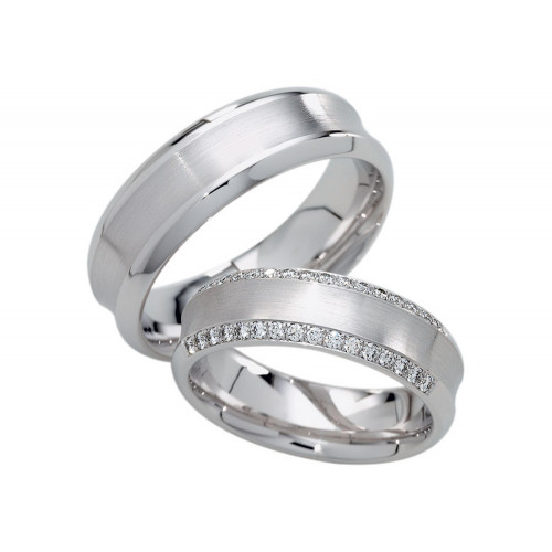 Satin Ladies And Mens Wedding Rings 0.32 Ctw Round Diamond 5mm, 6mm 02253