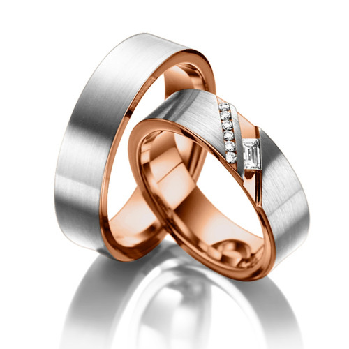 Satin Flat His And Hers Matching Wedding Bands 0.16 Carat Round & Baguette Diamond 6mm 02269