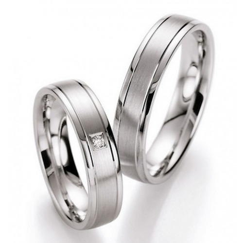 Satin Flat His And Her Wedding Rings 0.03 Ctw Round Diamond 5mm, 6mm 02272