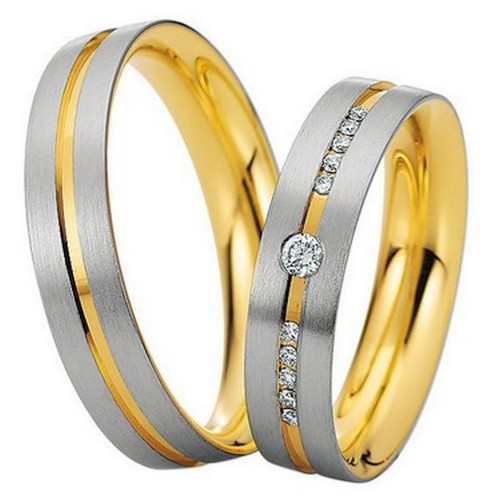 Satin Flat Channel His Hers Wedding Rings 5mm, 6mm 02277