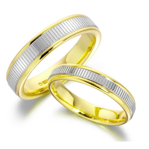 Polish Flat Channel His And Hers Matching Wedding Bands 4mm, 6mm 02285