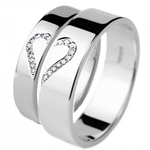 Polish Flat His Hers Wedding Rings 0.2 Ctw Round Diamond 4mm, 6mm 02286