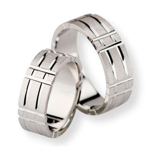 Satin Flat Channel Couples Wedding Rings 5mm, 7mm 02291