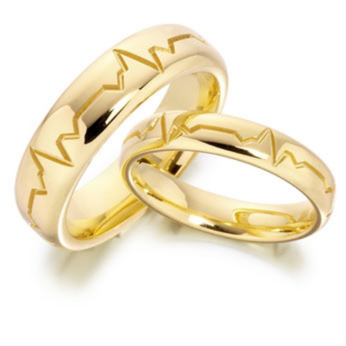 Polish Low Dome Grooved Ladies And Mens Matching Wedding Rings 4mm, 6mm 02300