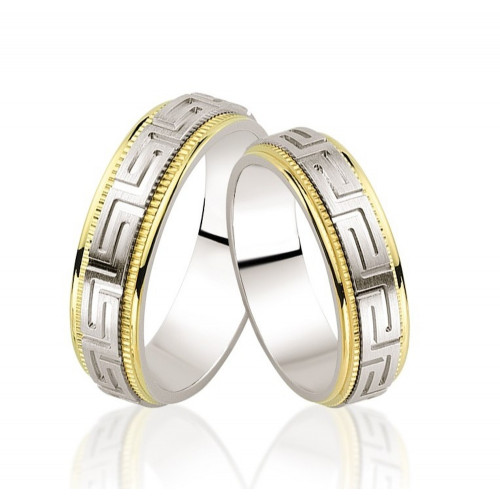 Satin Greek His And Hers Wedding Rings 5mm, 6mm 02306