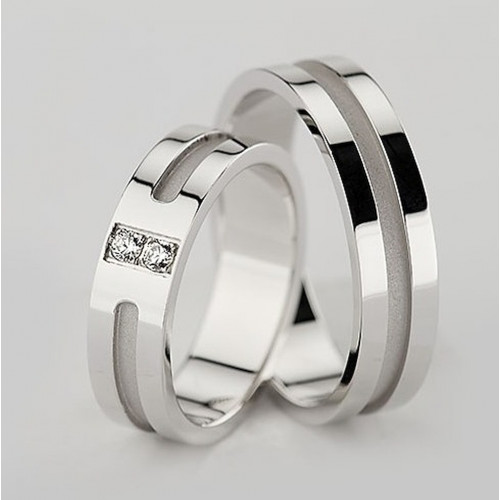 Satin Flat Channel His And Hers Matching Wedding Bands 0.06 Carat Round Diamond 5.5mm 02311