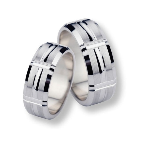 Polish Brush Flat Grooved His And Hers Matching Wedding Bands 7mm 02315