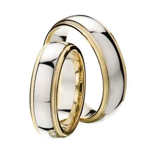 Polish Milgrain Low Dome His And Hers Matching Wedding Rings 4mm, 6mm 02319