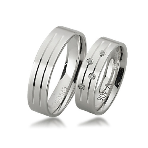 Polish Flat Grooved His And Hers Wedding Rings 0.04 Carat Round Diamond 5.5mm 02321