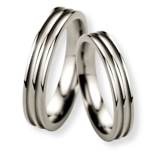 Satin Flat Grooved Ladies And Mens Wedding Bands 4mm, 5mm 02325