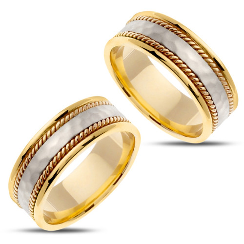 Polish Hammered His And Hers Matching Wedding Bands 8mm 02404