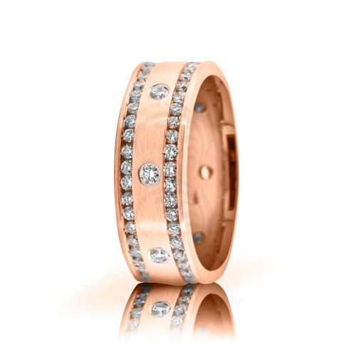2.5 Ctw 18k Rose Gold Round Diamond Wedding Band 7mm 02522