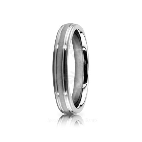 Genuine Satin Designer Wedding Band 4mm 02535