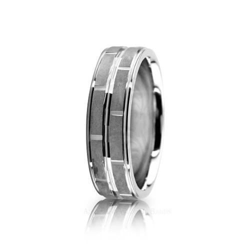 Solid Satin Designer Wedding Band 7mm 02611