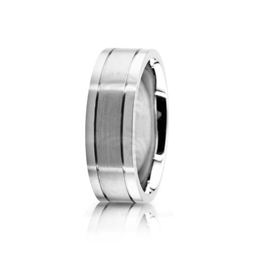 Solid Satin Stylish Wedding Band 7mm 02615