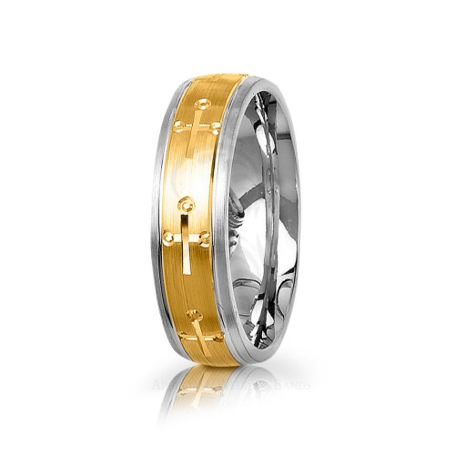 Religious Christian Cross Wedding Ring Satin 6mm 03015