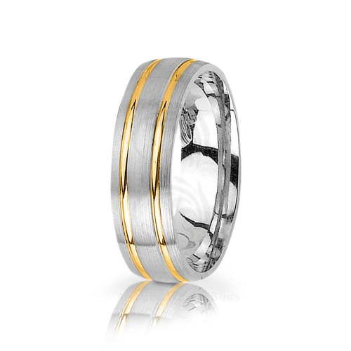 Genuine Satin Stylish Carved Lines Wedding Band 6.5mm 03026