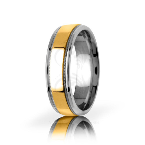 Authentic Polish Stylish Center Line Wedding Band 6.5mm 03051