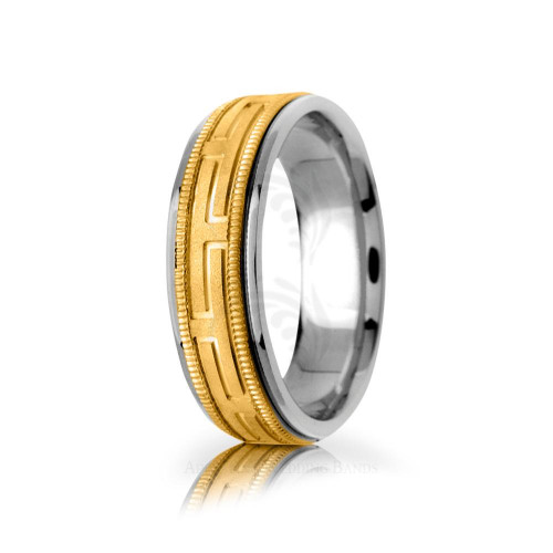 Handwoven Polish Sandstone Greek Key Wedding Ring 6.5mm