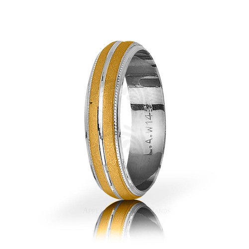 Authentic Polish Sandstone Diamond Cut Double Stripe Thin Wedding Band 5mm 03060