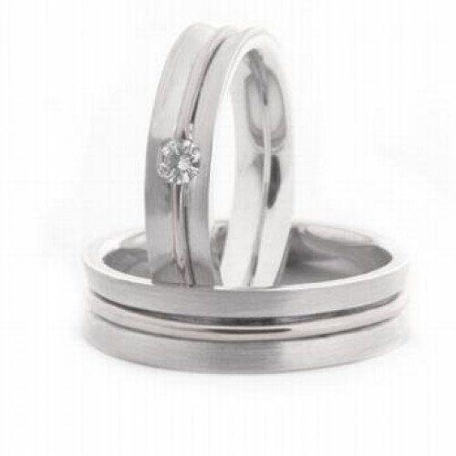 Satin His And Hers Wedding Rings 0.08 Ctw Round Diamond 5mm 03609