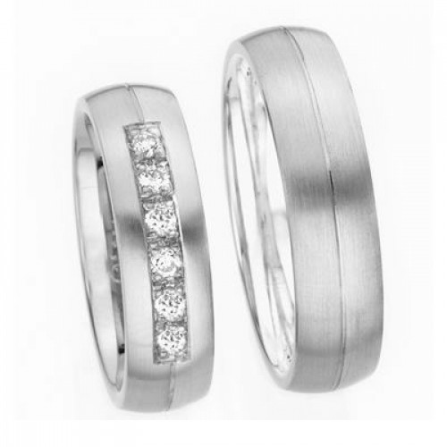 Satin His And Her Wedding Rings 0.36 Carat Round Diamond 6mm 03618