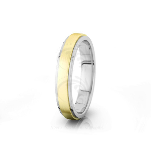 Solid Satin Classic Flat Step Edge Wedding Ring 4mm 04022