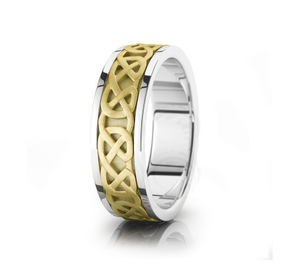 Celtic Interwoven Chain Wedding Band Polish Sandstone 7mm 00042