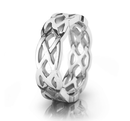 Celtic Trinity Knot Chain Wedding Band Polish 7mm 00049