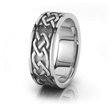 Celtic Trinity Knot Chain Wedding Band Polish 8mm 00050