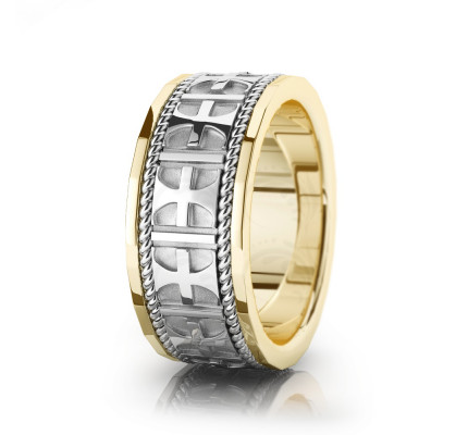 Religious Braided Christian Cross Wedding Ring Polish 9mm 00520