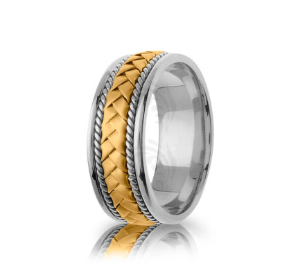 Handwoven Satin Braided Basket Weave Wedding Band 8.5mm