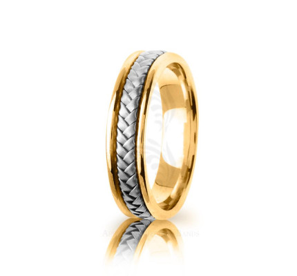 Handmade Satin Braided Basket Weave Wedding Band 6mm