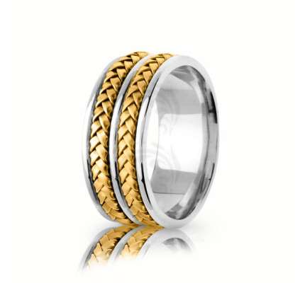 Handwoven Satin Braided Basket Weave Wedding Ring 9mm