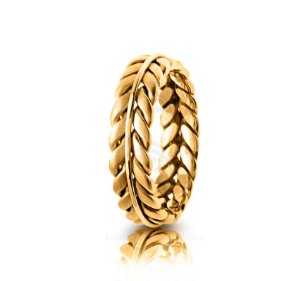 Handmade Polish Fern Braided Wedding Band 6mm