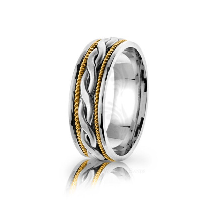 Handmade Satin Braided French Braid Wedding Ring 7mm