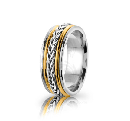 Handmade Polish Braided French Braid Wedding Band 8mm