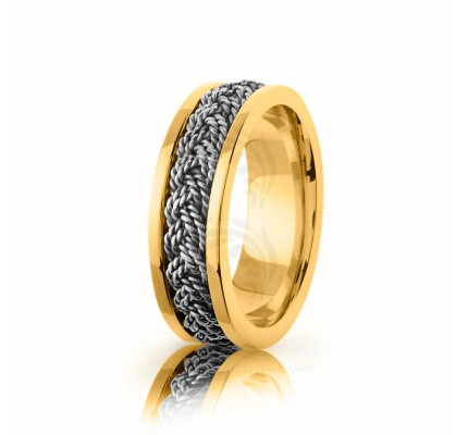 Handwoven Polish Braided Hair Braid Wedding Ring 7mm
