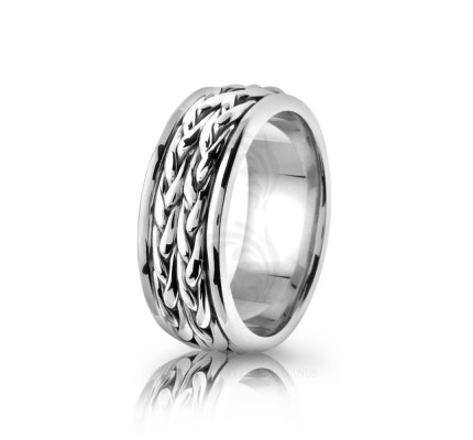 Handwoven Polish Fern Braided Wedding Band 8mm