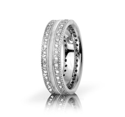 0.72 Ctw Round Diamond Wedding Band 7mm 01148