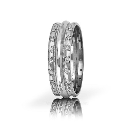 0.4 Carat Round Diamond Carved Lines Wedding Band 7mm 01183