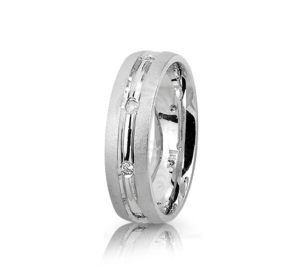 0.16 Ctw Round Diamond Center Groove Band Wedding 7mm 01224
