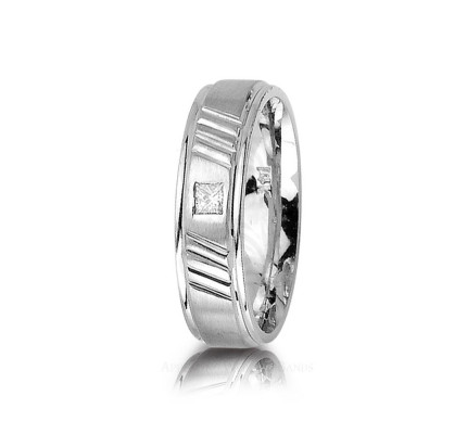 0.1 Ctw Princess Diamond Carved Lines Band Wedding 6mm 01258