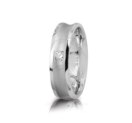 0.14 Carat Round Diamond Center Groove Wedding Ring 6mm 01260