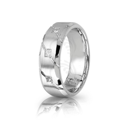 0.21 Ctw Princess Diamond Carved Lines Wedding Ring 7mm 01285